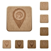 International route GPS map location on rounded square carved wooden button styles - International route GPS map location wooden buttons