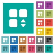 Adjust component multi colored flat icons on plain square backgrounds. Included white and darker icon variations for hover or active effects. - Adjust component square flat multi colored icons