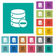 Remove from database multi colored flat icons on plain square backgrounds. Included white and darker icon variations for hover or active effects. - Remove from database square flat multi colored icons