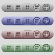 Zip component icons on rounded horizontal menu bars in different colors and button styles - Zip component icons on horizontal menu bars