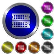 Rack servers icons on round luminous coin-like color steel buttons - Rack servers luminous coin-like round color buttons