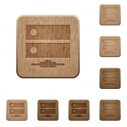 Network drive on rounded square carved wooden button styles - Network drive wooden buttons