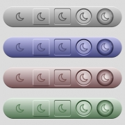 Moon shape icons on rounded horizontal menu bars in different colors and button styles - Moon shape icons on horizontal menu bars