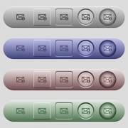 Mail information icons on rounded horizontal menu bars in different colors and button styles - Mail information icons on horizontal menu bars