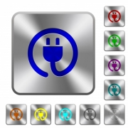 Rolled power cord engraved icons on rounded square glossy steel buttons - Rolled power cord rounded square steel buttons
