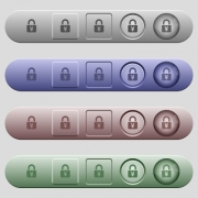 Locked Yens icons on rounded horizontal menu bars in different colors and button styles - Locked Yens icons on horizontal menu bars