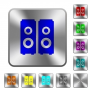 Speakers engraved icons on rounded square glossy steel buttons - Speakers rounded square steel buttons