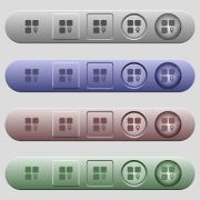 Component location icons on rounded horizontal menu bars in different colors and button styles - Component location icons on horizontal menu bars