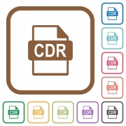 CDR file format simple icons in color rounded square frames on white background - CDR file format simple icons