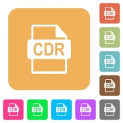 CDR file format flat icons on rounded square vivid color backgrounds. - CDR file format rounded square flat icons