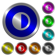 Contrast control icons on round luminous coin-like color steel buttons - Contrast control luminous coin-like round color buttons