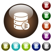 Database compress data white icons on round color glass buttons - Database compress data color glass buttons