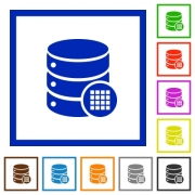 Database table cells flat color icons in square frames on white background - Database table cells flat framed icons