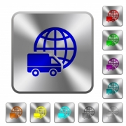 International transport engraved icons on rounded square glossy steel buttons - International transport rounded square steel buttons
