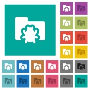 Bug folder multi colored flat icons on plain square backgrounds. Included white and darker icon variations for hover or active effects. - Bug folder square flat multi colored icons