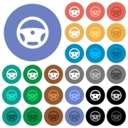 Steering wheel multi colored flat icons on round backgrounds. Included white, light and dark icon variations for hover and active status effects, and bonus shades on black backgounds. - Steering wheel round flat multi colored icons