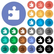 Puzzle multi colored flat icons on round backgrounds. Included white, light and dark icon variations for hover and active status effects, and bonus shades on black backgounds. - Puzzle round flat multi colored icons