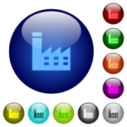 Factory building icons on round color glass buttons - Factory building color glass buttons - Large thumbnail
