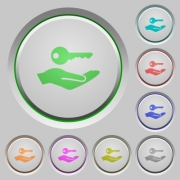 Security service color icons on sunk push buttons - Security service push buttons