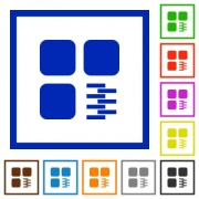 Zip component flat color icons in square frames on white background - Zip component flat framed icons