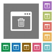Application delete flat icons on simple color square backgrounds - Application delete square flat icons