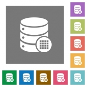 Database table cells flat icons on simple color square backgrounds - Database table cells square flat icons