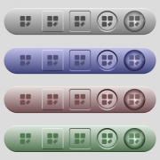 Tag component icons on rounded horizontal menu bars in different colors and button styles - Tag component icons on horizontal menu bars