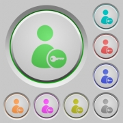 Secure user account color icons on sunk push buttons - Secure user account push buttons