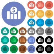 Dollar financial graph multi colored flat icons on round backgrounds. Included white, light and dark icon variations for hover and active status effects, and bonus shades on black backgounds. - Dollar financial graph round flat multi colored icons