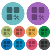 Component tools darker flat icons on color round background - Component tools color darker flat icons