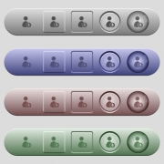 User broadcasting icons on rounded horizontal menu bars in different colors and button styles