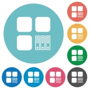 Archive component flat white icons on round color backgrounds - Archive component flat round icons