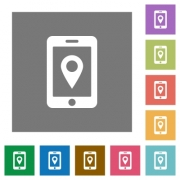 Mobile navigation flat icons on simple color square backgrounds - Mobile navigation square flat icons