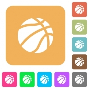 Basketball flat icons on rounded square vivid color backgrounds. - Basketball rounded square flat icons