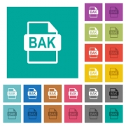 BAK file format multi colored flat icons on plain square backgrounds. Included white and darker icon variations for hover or active effects. - BAK file format square flat multi colored icons