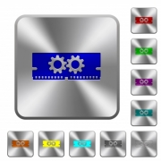 Memory optimization engraved icons on rounded square glossy steel buttons
