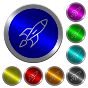 Launched rocket icons on round luminous coin-like color steel buttons - Launched rocket luminous coin-like round color buttons