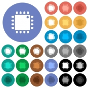 Computer processor multi colored flat icons on round backgrounds. Included white, light and dark icon variations for hover and active status effects, and bonus shades on black backgounds. - Computer processor round flat multi colored icons