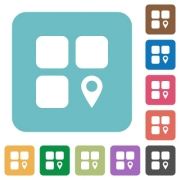 Component location white flat icons on color rounded square backgrounds - Component location rounded square flat icons