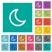 Moon shape multi colored flat icons on plain square backgrounds. Included white and darker icon variations for hover or active effects. - Moon shape square flat multi colored icons