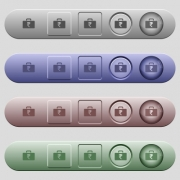 Indian Rupee bag icons on rounded horizontal menu bars in different colors and button styles - Indian Rupee bag icons on horizontal menu bars