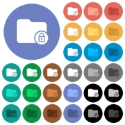Lock directory multi colored flat icons on round backgrounds. Included white, light and dark icon variations for hover and active status effects, and bonus shades on black backgounds. - Lock directory round flat multi colored icons