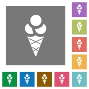 Ice cream flat icons on simple color square backgrounds - Ice cream square flat icons
