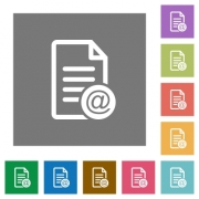 Send document as email flat icons on simple color square backgrounds - Send document as email square flat icons