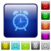 Alarm clock icons in rounded square color glossy button set - Alarm clock color square buttons