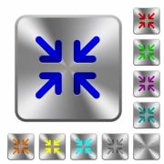 Minimize arrows engraved icons on rounded square glossy steel buttons - Minimize arrows rounded square steel buttons