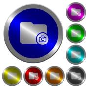 Directory snapshot icons on round luminous coin-like color steel buttons - Directory snapshot luminous coin-like round color buttons