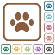 Paw prints simple icons in color rounded square frames on white background - Paw prints simple icons