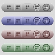 Cloud component icons on rounded horizontal menu bars in different colors and button styles - Cloud component icons on horizontal menu bars