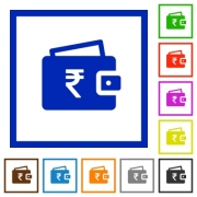 Indian Rupee wallet flat color icons in square frames on white background - Indian Rupee wallet flat framed icons